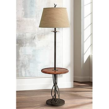 Iron Twist Base Wood Tray Table Floor Lamp Amazon Com