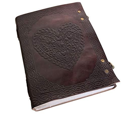 - Large Vintage Heart Embossed Leather Journal/Instagram Photo Album (Handmade Paper) - Coptic Bound with Lock Closure by Aislinn Leather (Heart Emboss)