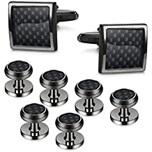 LOYALLOOK 8pcs Mens Carbon Fiber Cufflinks and Shirt Studs Set Tuxedo Shirts Business Wedding Silver Black Gold Tone