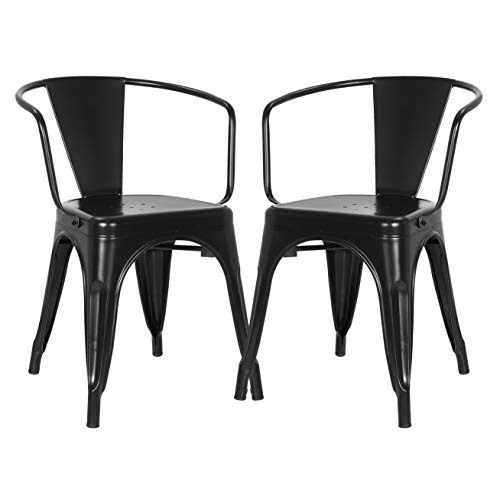 Poly and Bark Trattoria Arm Chair in Black (Set of 2)