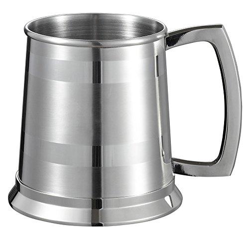 Visol Dual Polished Stripes on Satin Finish Beer Mug, 16-Ounce