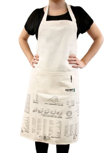 (Suck UK SK APRONGUIDE1 Apron Cooking Guide-Full Length and 100% Unbleached Cotton Canvas, Cream)
