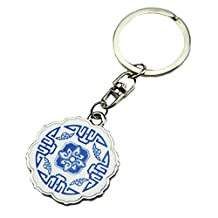 Chinese Blue And White Porcelain Metal Key Chain Hook/Ring