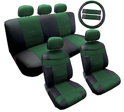green and white car seat covers - 5