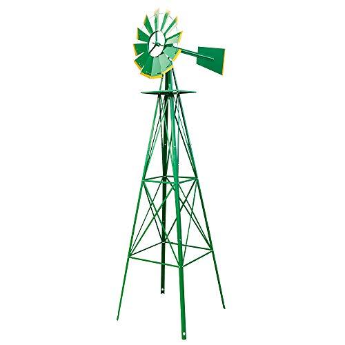 VINGLI 8FT Ornamental Windmill Backyard Garden Decoration Weather Vane, Heavy Duty Metal Wind Mill w/ 4 Legs Design,Green