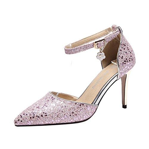 High Pailletten Rosa Pumps Heels Spitze Glitzer Stiletto Schnalle Damen YE mit Knöchelriemchen Schuhe Elegant und q0wUZ6IP