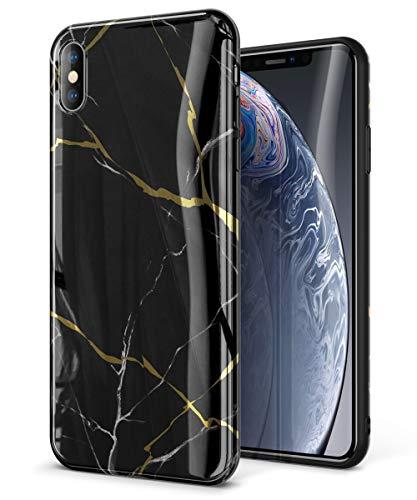 GVIEWIN Marble iPhone Xs Case/iPhone X Case, Ultra Slim Thin Glossy Soft TPU Rubber Gel Phone Case Cover Compatible iPhone X/iPhone Xs 2018, 5.8(Black/Gold)