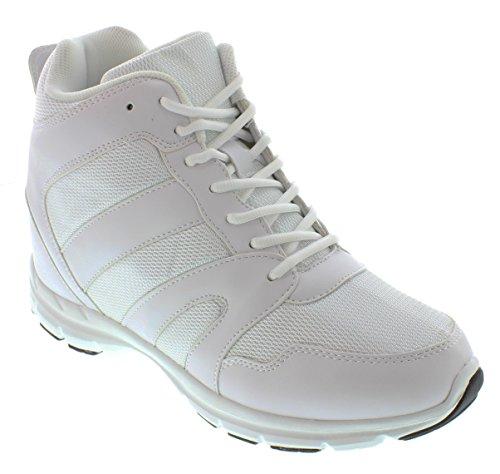 calto-g3329-10,2cm Grande Taille-Hauteur Augmenter Chaussures ascenseur (Blanc montantes sneakers)