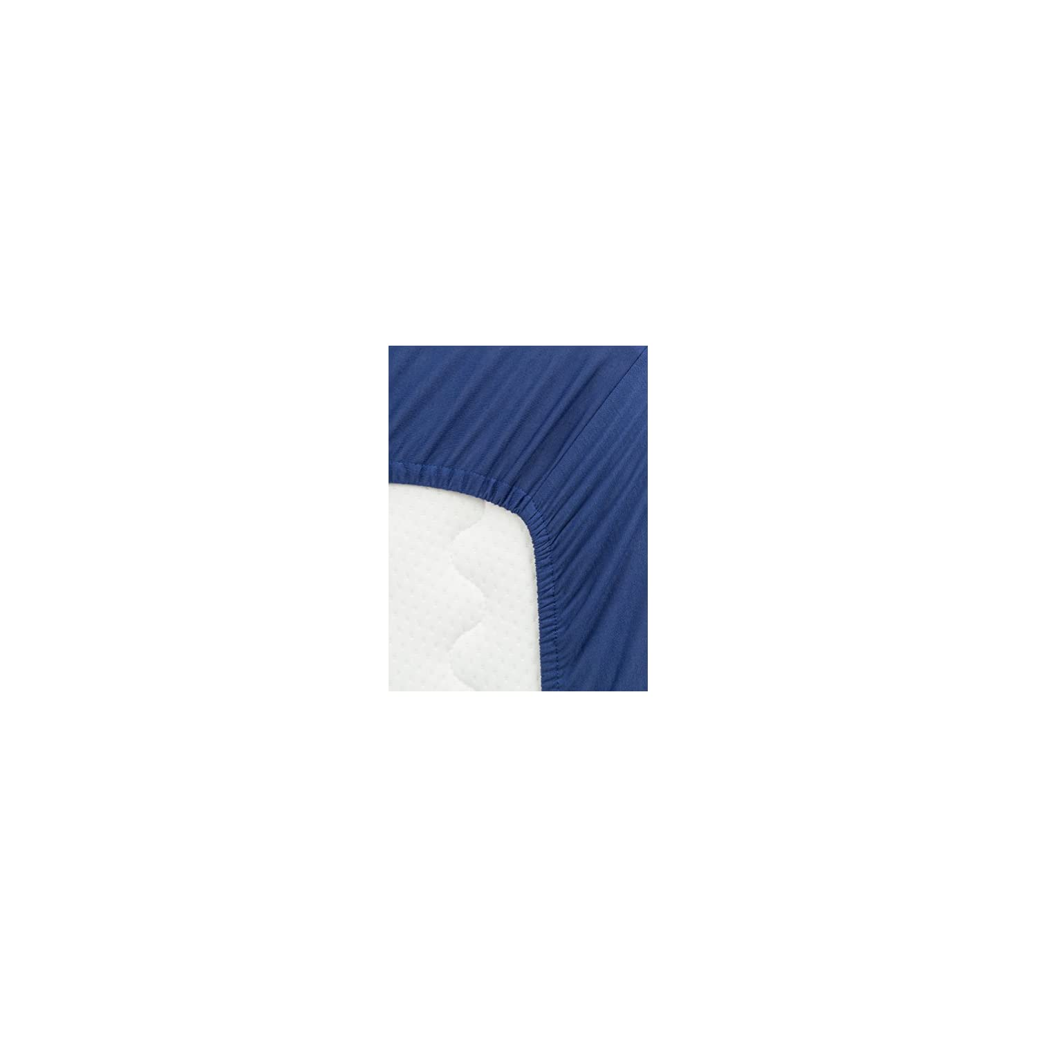 TILLYOU Jersey Knit Soft Crib Sheet Fitted, Hypoallergenic Breathable Cozy Toddler Sheets for Baby Boys, 28'' x 52'' Fits Standard Crib and Toddler Bed Mattress, Navy Blue/Royal Blue