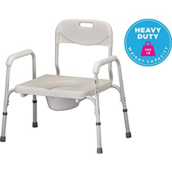 Image of Health and Household NOVA Heavy Duty Bedside Commode, Extra Wide Seat, 450 lb. Weight Capacity, Seat Height Adjustable, Stand Alone or Over Toilet Commode, White