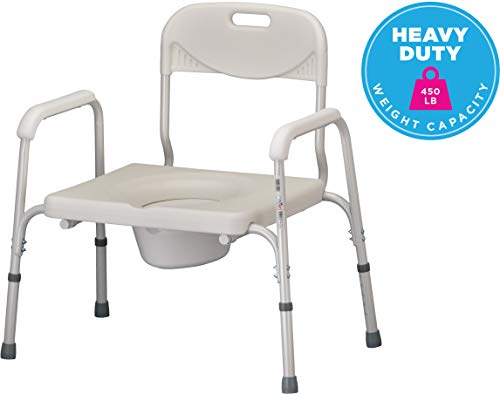 NOVA Heavy Duty Bedside Commode, Extra Wide Seat, 450 lb. Weight Capacity, Seat Height Adjustable, Stand Alone or Over Toilet Commode, White ()