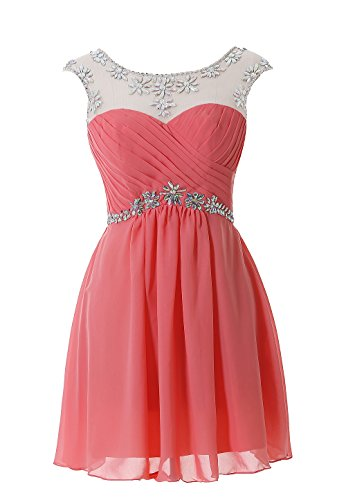 Kiss Dress Women's Chiffon Homecoming Dresses Beaded Short Cocktail Party (Beaded Short Dress Cocktail Dress)