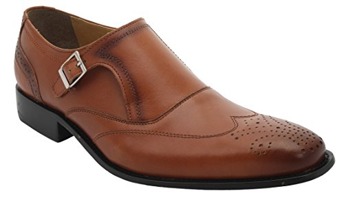 Liberty Men's Leather Classic Single Buckle Wing Tip Dress (Tan Leather High Heel)