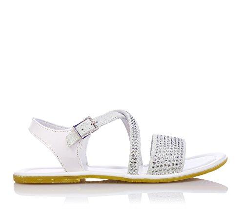 EUREKA - Sandale blanche en vernis et suède,fille,filles,enfant