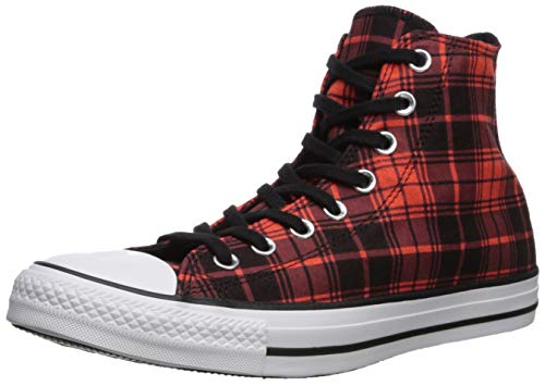 Converse Men's Chuck Taylor All Star Plaid High Top Sneaker Bright Poppy Black, 8 M -