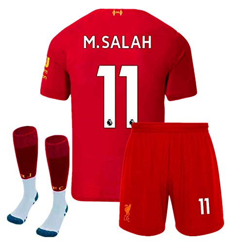New 2019/2020 Season #11 M.Salah Jersey Liverpool Home Kids/Youth Soccer Jersey Matching & Shorts & Socks Color Red Size 13-14Years