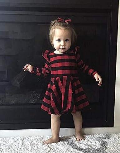 Geagodelia Vestito Bambina di Natale Abito da Principessa Bambina Scozzese Rosso a Maniche Lunghe con Volant Tuta Bambina Neonata Abito Bambina Festa Party Gonna Bambina Elegante