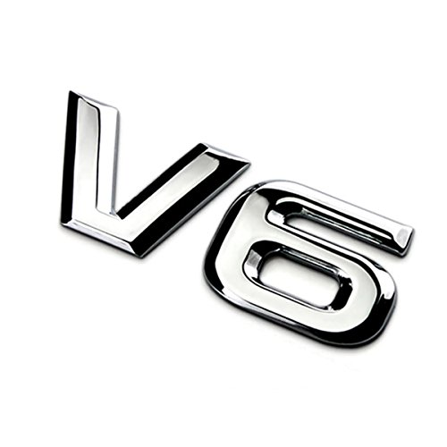 : Dsycar 3D Metal Adhesive V6 Truck Car Badge Emblem Sticker Car Styling Accessories (V6-Silver)