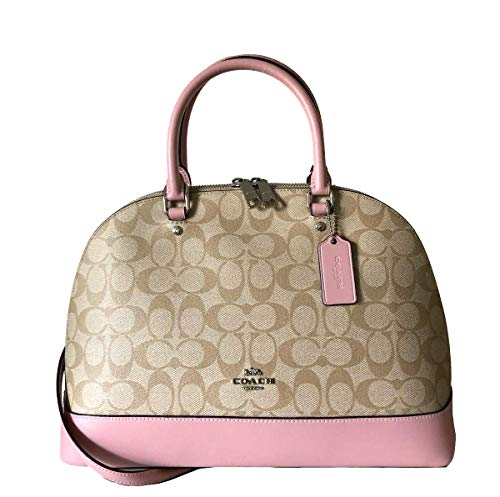 Coach Signature Sierra Satchel Crossbody Bag Purse Handbag (Light Khaki Carnation)