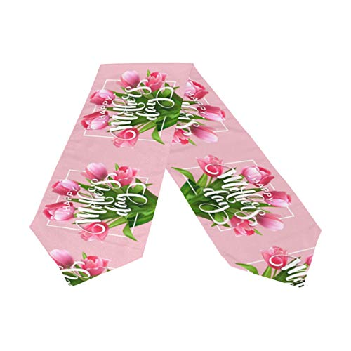 Wamika Mother's Day Table Runner 13x70 Inches Double Sided, Blooming Tulip Flowers Carnation Table Runners Cloth Placemats Washable Fabric for Kitchen Dining Party Home Decor