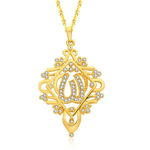 Jewelry Pendant Pierced - WELRDFG 18K Gold Plated/Silver Plated Allah Pendant Muslim Jewelry Pierced Ladies Jewelry Rhinestone