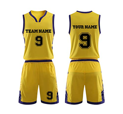 2019 Custom Unisex Name Team Number Sport Basketball Jerseys Shorts Outfit Yellow