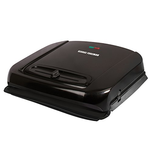George Foreman 6-Serving Removable Plate Grill and Panini Press with Adjustable Temperature, Black, GRP1001BP