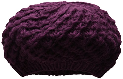 San Diego Hat Company Women's Chunky Yarn Woven Beret Hat, Magenta, One Size