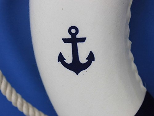 Classic White Decorative Anchor Lifering with Blue Bands 15'' - Anchor Life Ring by Handcrafted Model Ships (Image #2)