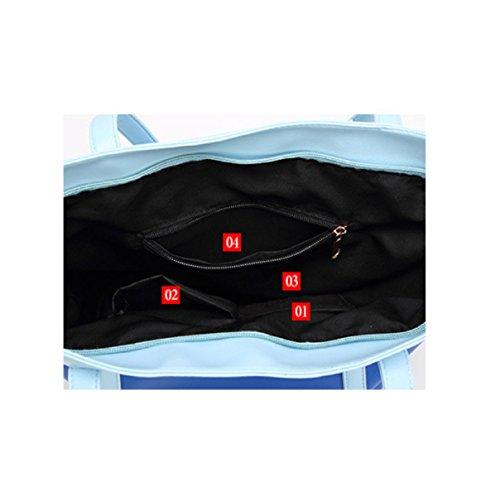 MSNHMU - Bolso estilo cartera de piel para mujer Azul