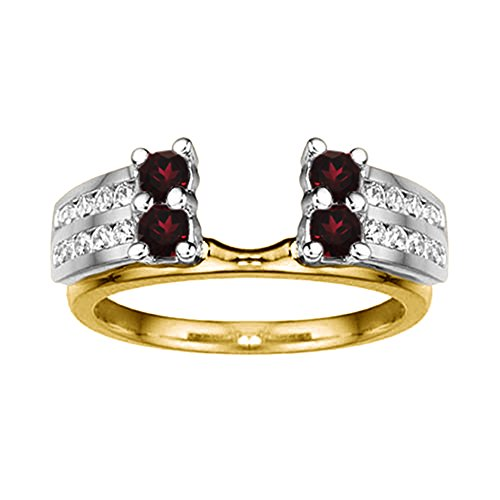 .52 Diamond and Ruby Wedding Wrap in 14k TwoTone Gold,(G-H,I2)(0.52Ct) Size 3 To 15 in 1/4 Size Interval ()