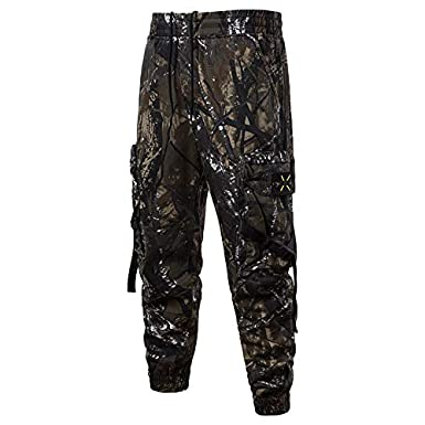 GRMO Men Cotton Linen Chinese Style Loose Vintage Sport Floral Printed Lounge Pants Trousers