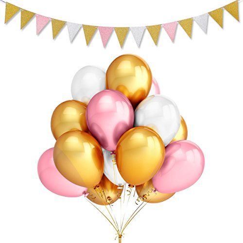 (50Pcs 12inch 2.8g/pcs Thicken Round Metallic Pearlescent Latex Balloons- Gold & Pink & White Color Latex Party Balloons and Vintage Style Pennant Banner,Bachelorette Wedding Hawaii Party Decoratio)