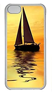 Custom design PC Transparent Case Cover For iPhone 5C DIY Durable Shell Skin For iPhone 5C with Sunset Boat