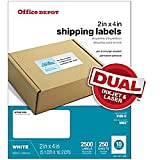 Office Depot White Laser Shipping Labels, 2in. x 4in, Pack Of 2500, 505-O004-0020