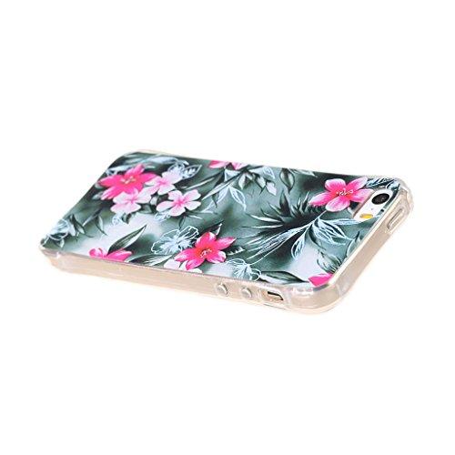 PowerQ Bubble Blase Serie Tropfen Widerstand buntes Muster TPU Case Hülle < Black leaf pink flower - für IPhone 6 6S IPhone6S IPhone6 >           4-Corner Gassack Blase Stoßstange Airbag Drop Resistance Pattern