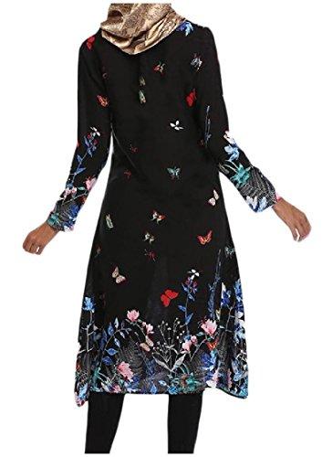 Coolred-femmes Floral Islamic Moulantes Imprimé Musulman Noir Sauvage Abaya