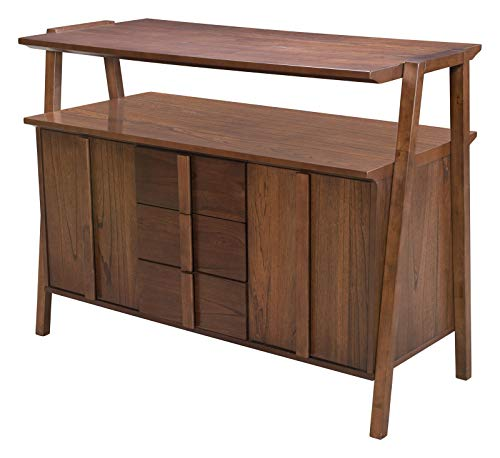 Industrial Country Farm Beach Storage Cabinet Buffet, Walnut Brown, Wood, Kitchen Dining Room