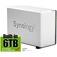 Synology DS216J 6-Terabyte (6TB) 2-Bay Gigabit iSCSI NAS Server for Small Office & Home (Built-in Seagate 3TB Hard Drives x 2) - Retail - 2 Year Warranty