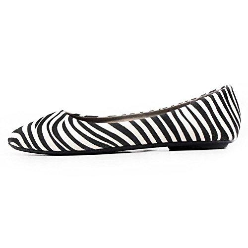 Women New Fashion Ballerina Ballet Flat Basic Round Toe Sexy Comfort Soft Slip on Shoes Zebra HHLxAd23