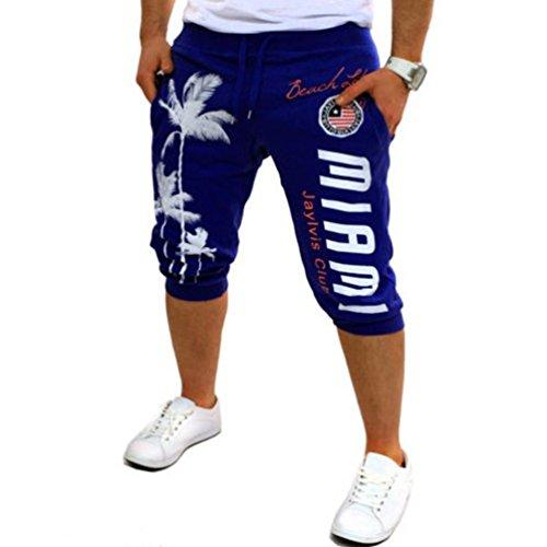 ZhiYuanAN Hombres Pantalón Corto Impreso Gimnasio Sport Jogging Pantalones Shorts Casuales De Playa Elastizada Bermudas Con Bolsillos Azul