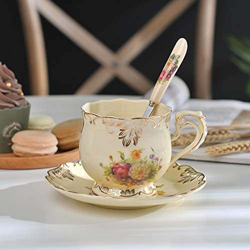 | Yolife Ivory Porcelain Tea Cup Saucer Spoon Set Coffee Sevice Cup Elegant Light Luxury Espresso Cups Style Beatiful Gift 250ML | by AQANATURE | 1 PCs ()