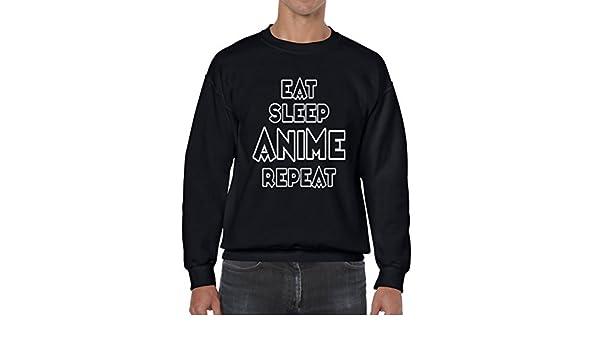 Amazon.com: AW Fashions Eat Sleep Anime Repeat - Funny Quote Unisex Crewneck Sweatshirt: Clothing