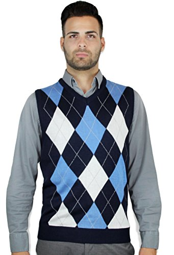 Argyle Vest (Blue Ocean Argyle Sweater Vest-Medium)