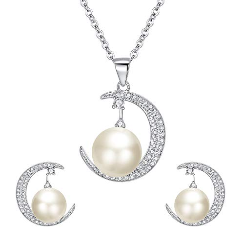 EleQueen 925 Sterling Silver CZ AAA Round Button Cream Freshwater Cultured Pearl Bridal Moon Pendant Necklace Earrings Set