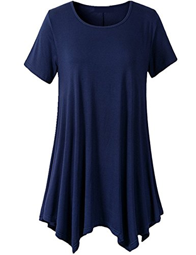 LONSANT Womens Swing Loose Fit Short Sleeve Comfy Tunic T Shirt (XL, Navy Blue)