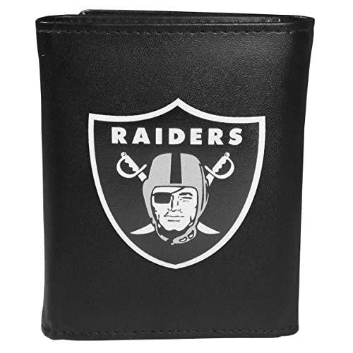 (Siskiyou NFL Oakland Raiders Unisex SportsLeather Tri-fold Wallet, Large Logo, Black, One Size)