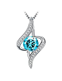 """Necklace, J.Rosée Jewelry 925 Sterling Silver Pendant Necklace""""The Eye of Lover"""" Blue Necklace Exquisite Gift Package 18"""" + 2"""" Extender"""