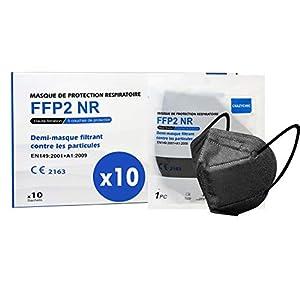 CRAZYCHIC – Masque FFP2 Noir – Norme CE EN149 – Masque de Protection Respiratoire Certifié – Haute Filtration – Stock…