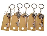 50pcs Skeleton Key Bottle Opener Wedding Party Favor Souvenir Gift with Keyring Escort Card Tag and Jute Rope(Copper Keys)